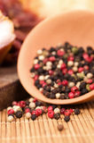 Different type of peppercorns Stock Images