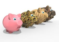 Different type of piggy banks Stock Image