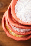 Different type of salt in rustic clay bowls Stock Image