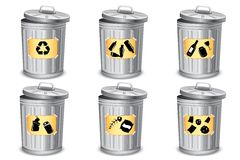 Different type Trash Bin Royalty Free Stock Photos