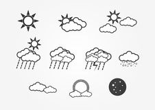 Different type of weathers on white background. Stock Photo