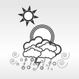 Different type of weathers on white background. Different type of weathers on white background such as sunny, most cloudy, windy and rainy. Vector Design Royalty Free Stock Image