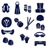 Different types of accessories for swimming Royalty Free Stock Image
