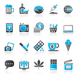 Different types of Addictions icons Stock Images