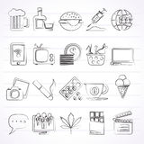 Different types of Addictions icons Stock Image