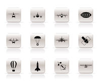 Different types of Aircraft icons Stock Photos