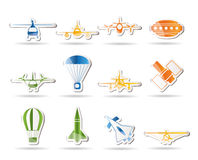 Different types of Aircraft Illustrations Royalty Free Stock Photography