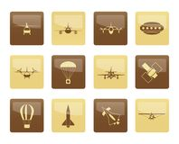 Different types of Aircraft Illustrations and icons over brown background Stock Photography