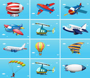 Different types of aircrafts. Illustration Royalty Free Stock Photos