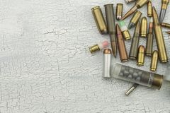 Different types of ammunition. Bullets of different calibers and types. The right to own a gun. Sales of weapons and ammunition royalty free stock photography