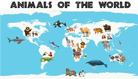 Different types of animals around the world on the map. Illustration Royalty Free Stock Images