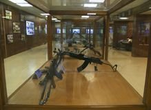 Different types of automatic and semi-automatic rifles on display at Hall of Fame, Leh. Which are widely used by Indian Army at the front Stock Images