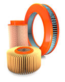 Different types of automotive air filters. Royalty Free Stock Image