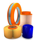 Different types of automotive air and oil filters. Royalty Free Stock Photography