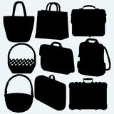 Different types of bags and baskets Stock Images