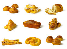 Different types of baked goods. Isolated Stock Photos