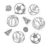 Different types of balls set. Sports doodles Royalty Free Stock Image