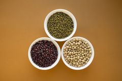Different types of beans in bowls stock photos