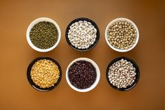 Different types of beans in bowls stock photo