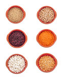 Different types of beans isolated on white Stock Photography