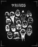 Different types of beards illustration on blackboard background. Funny vector illustration of different types of beards on blackboard background. Isolated Stock Photography