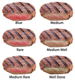 Different types of beef steaks isolated on a white background. Royalty Free Stock Images