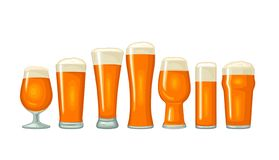 Different types beer glasses. Vector color flat icon stock illustration