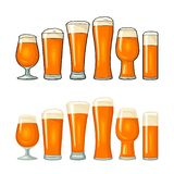 Different types beer glasses. Vector color flat icon vector illustration