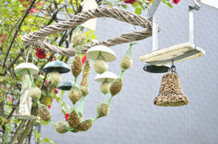 Different types of bird feeder Royalty Free Stock Photos