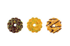 Different types of biscuits on a white background. Top view Stock Images
