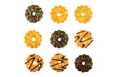 Different types of biscuits on a white background. Top view Stock Photography