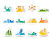 Different types of boat and ship icons Royalty Free Stock Images