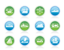 Different types of boat and ship icons Stock Photography