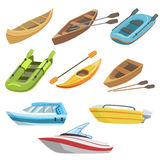 Different Types Of Boats Colorful Set. Of Simple Childish Flat Illustrations  On White Background Royalty Free Stock Photo