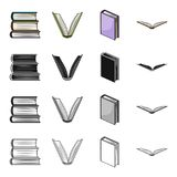 Different types of books, literature, textbook, dictionary. Book set collection icons in cartoon black monochrome. Outline style vector symbol stock Royalty Free Stock Photos