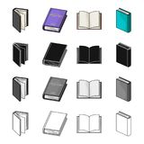 Different types of books, literature, textbook, dictionary. Book set collection icons in cartoon black monochrome Royalty Free Stock Image