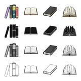 Different types of books, literature, textbook, dictionary. Book set collection icons in cartoon black monochrome Stock Images