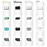 Different types of books, literature, textbook, dictionary. Book set collection icons in cartoon black monochrome. Outline style vector symbol stock Royalty Free Stock Image