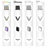 Different types of books, literature, textbook, dictionary. Book set collection icons in cartoon black monochrome Royalty Free Stock Photo