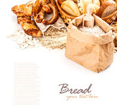 Different types of bread. With space for text stock photos