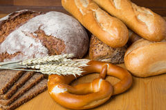 Different types of bread and bakery products Royalty Free Stock Images
