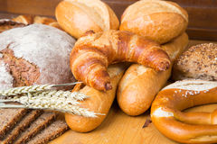 Different types of bread and bakery products Stock Image