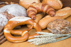 Different types of bread and bakery products Stock Photo