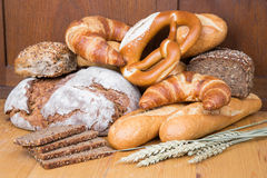 Different types of bread and bakery products Stock Images