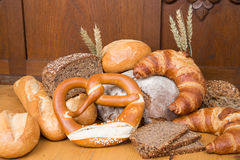 Different types of bread and bakery products Royalty Free Stock Photo