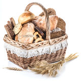 Different types of bread in the basket. Royalty Free Stock Image