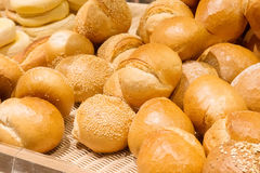 Different types of bread. On the shelves Stock Photo