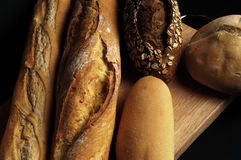 Different types of bread with soft light, breat Stock Images