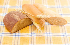 Different types of bread and spikes on a checkered tablecloth Royalty Free Stock Images