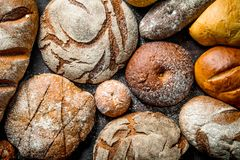 Different types of bread. Top view royalty free stock photo